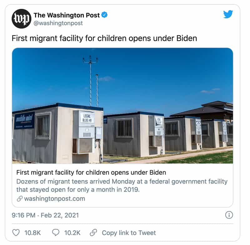 Washington Post tweet mentions the first migrant facility for children opens under Biden